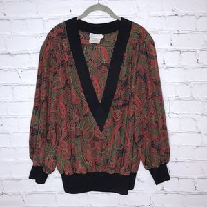 Vintage 1980's Red Floral Puff Sleeve Blouse Top